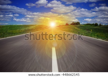 The road to the sunrise - stock photo