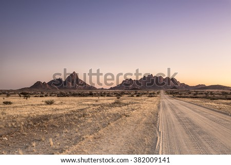 The road towards the Spitzkoppe - stock photo