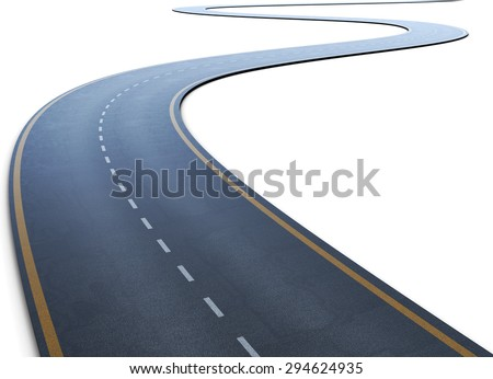 The road with a marking going to a distance on a white. 3d illustration. - stock photo