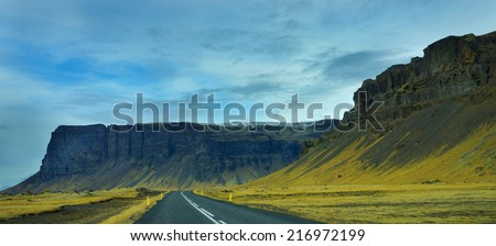 The roadside view of Iceland. - stock photo