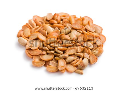 the roasted soya beans on white background