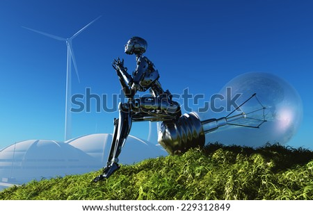 The robot and the light bulb on grass. - stock photo