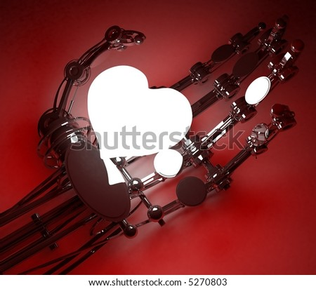 The robot hand holds heart which is shone 3d render