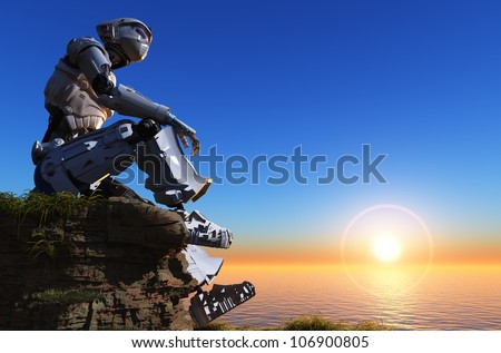 The robot in an outdoor setting. - stock photo