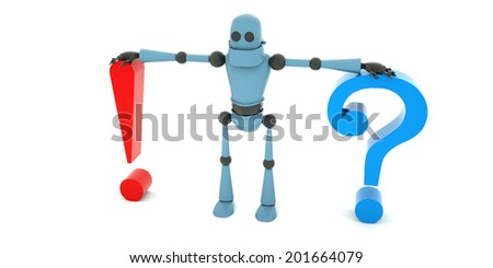 The robot leaning on a big question mark and a big exclamation mark, 3d render - stock photo
