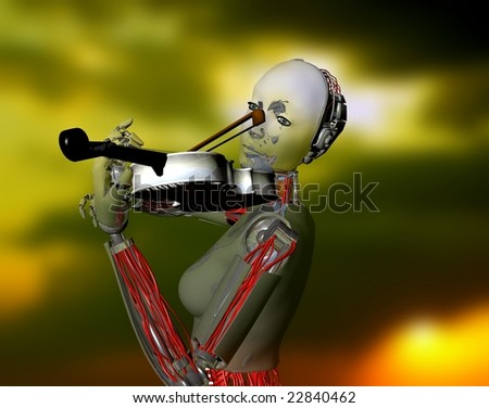 The robot plays a violin