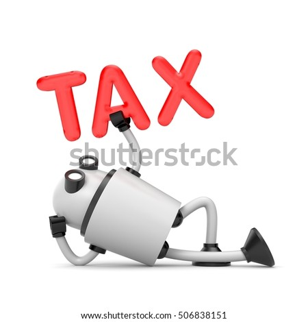 The robot video camera inspects the taxes. 3d illustration