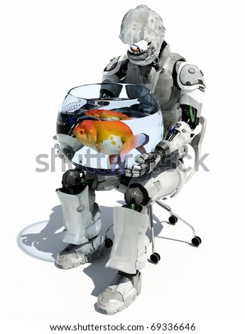 The robot with an aquarium on a white background.