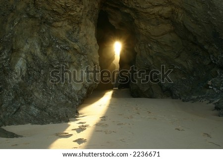 The rock and the light - stock photo