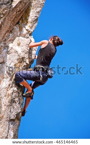 The rock-climber during rock conquest