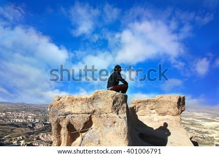 The rock mountains in Cappadocia, Turkey