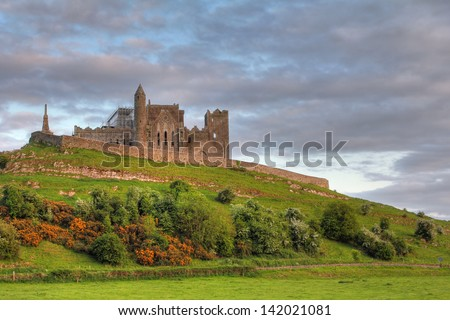 The Rock of Cashel at sunset , irish abbey in Tipperary county. Soft Hdr - stock photo