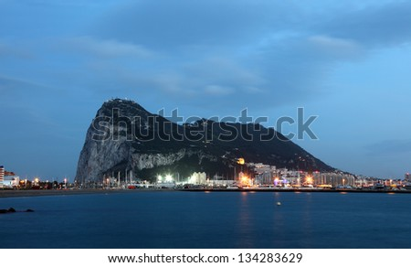 The Rock of Gibraltar at dusk - stock photo