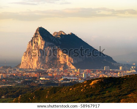 The rock of gibraltar in the morning dawn - stock photo