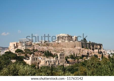 the rock of parthenon landmarks of athens greece - stock photo