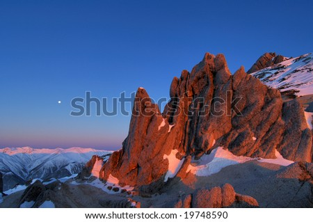 The rock which is stained with the morning sun - stock photo
