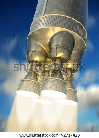 The rocket engine during launch. 3d image. - stock photo