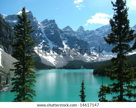 The Rockies - Moraine Lake in Banff National Park, Canada - stock photo