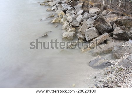 the rocks beside river, background