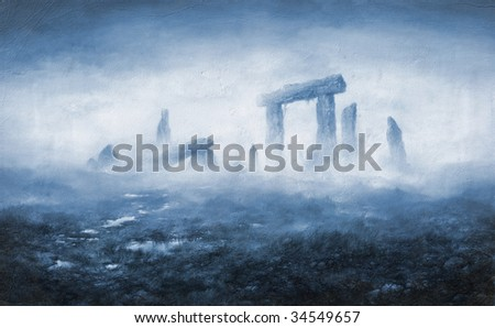 The rocks in the fog. Made by acrylic on paper. - stock photo