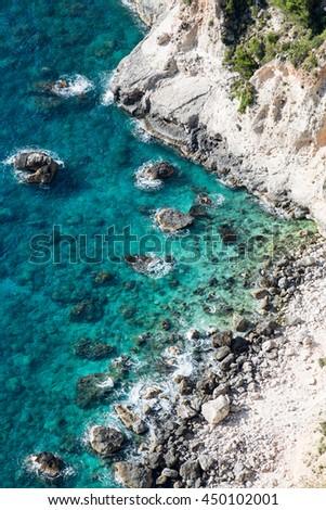 The rocky coast of the Ionian Sea. Sights of the Zakinthos Island. - stock photo