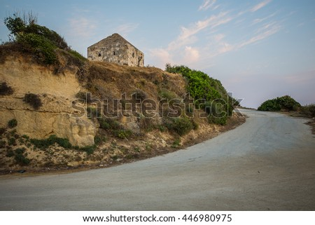 The rocky coast of the Ionian Sea View. Country road in Zakynthos Island. - stock photo