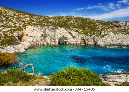 The rocky Porto Limnionas beach on Zakynthos island, Greece - stock photo