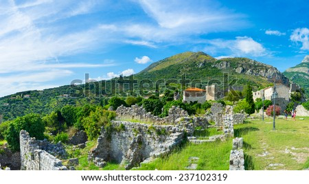 The rocky slopes are the best place for the medieval fortress, Stari Bar, Montenegro.
