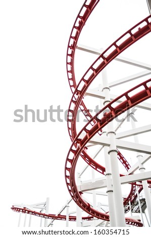 The roller coaster track structure isolated on white background - stock photo