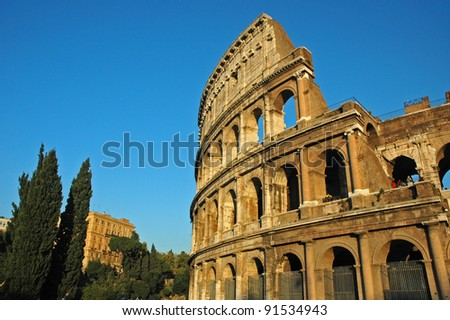 The Roman Coliseum in Rome, Italy, Europe