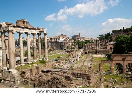 The roman forum in Rome - Italy - stock photo