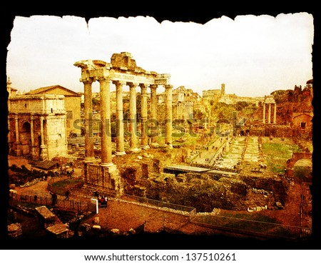 The roman forum in Rome on vintage old paper background isolated on black. - stock photo