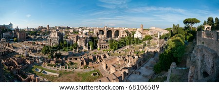 The Roman Forum panorama from the Palatine hill - stock photo