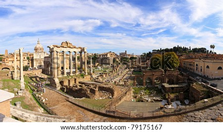 The Roman Forum ruins in ancient city Rome