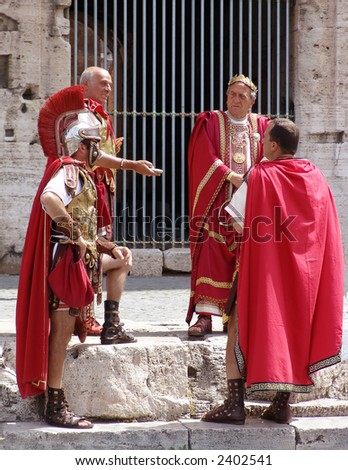 the roman legionaries. rome. italy - stock photo