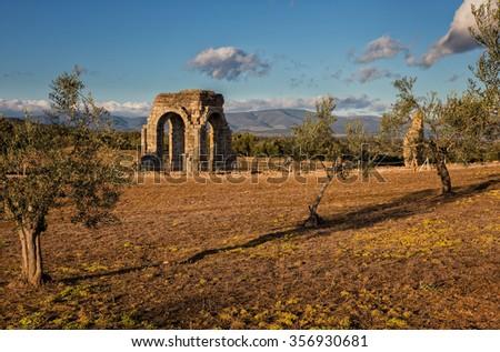 The Roman ruins of Caparra are located in the pasture Casablanca, among the terms of Oliva de Plasencia and Guijo de Granadilla. Extremadura. Spain - stock photo