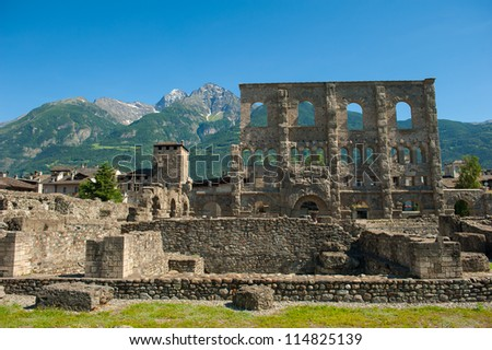 The roman theater in Aosta, Italy