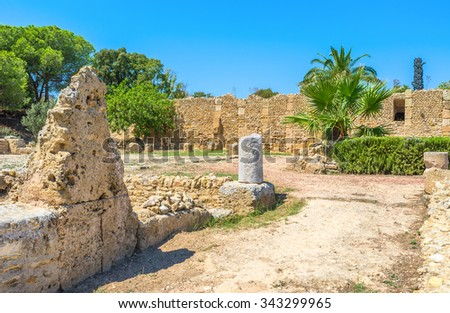 The Roman Villas are popular archaeological site in Carthage, contains the ruins of the walls, columns, mosaics, Tunisia. - stock photo