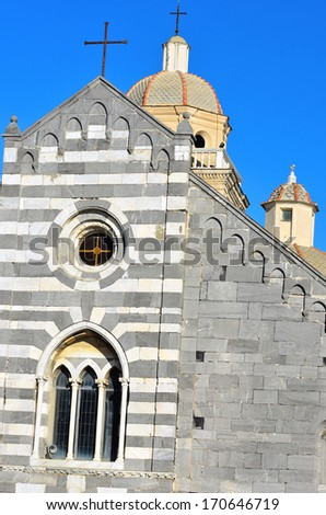 The Romanesque church of St. Lawrence (erected in 1098, restored in 1582). Portovenere town (UNESCO world heritage site), Liguria, Italy - stock photo