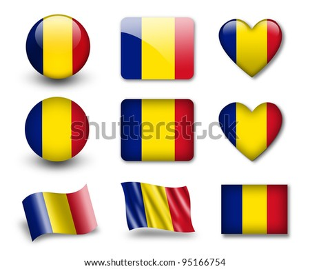 The Romania flag - set of icons and flags. glossy and matte on a white background. - stock photo