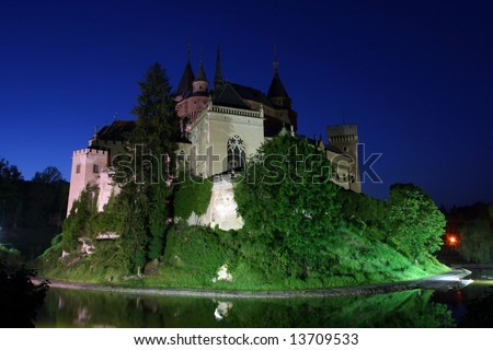 The romantic castle of Bojnice, Slovakia at night - stock photo