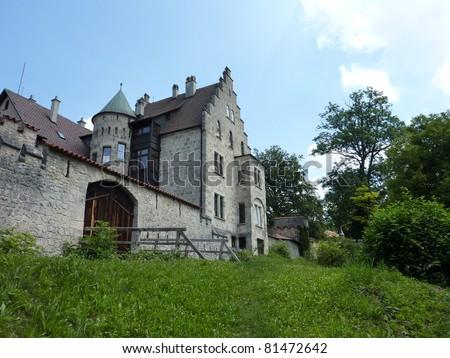 The romantic castle of Lichtenstein in Baden-Wuertemberg in Germany - stock photo