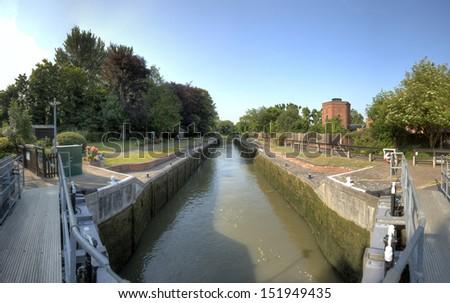 The Romney Lock on the River Thames, Windsor, near London. - stock photo