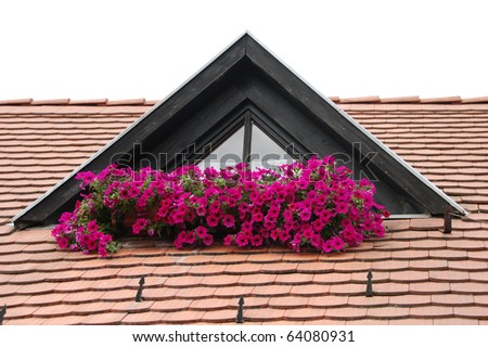The roof and the flowers, Hungary - stock photo