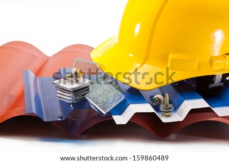The roof is made �¢??�¢??of polycarbonate, a yellow hard hat, screws for mounting - stock photo