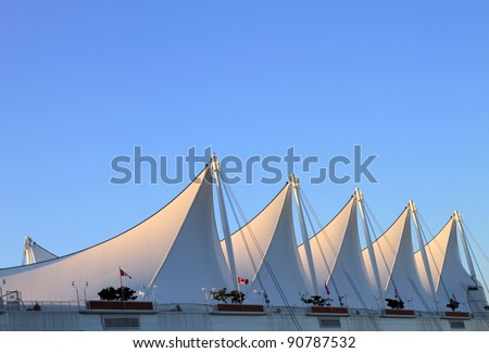 The Roof of Canada Place with White Sails in Vancouver. - stock photo