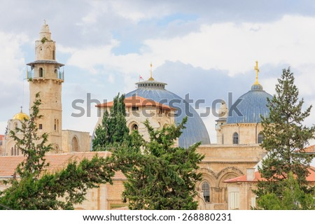 The roof of the Holy Sepulcher Church in the old city of Jerusalem, Israel - stock photo