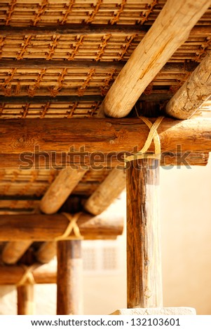 The roof structures of ancient Arabia were majestically secured with tie ropes as nails and bolts were unavailable - stock photo