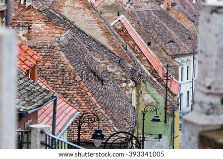 The roofs of the old city houses in Sibiu Romania - stock photo