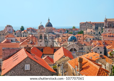 The rooftops of old city in Dubrovnik, Croatia - stock photo